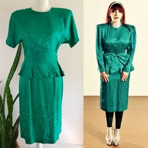 VTG 80s Argenti Silk Jacquard Peplum Dress